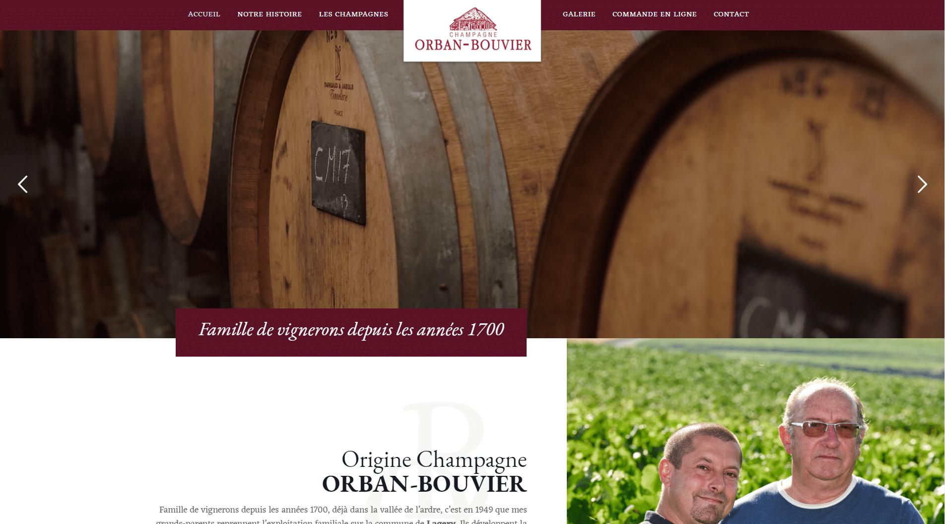 Site Internet Champagne ORBAN BOUVIER